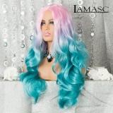 Langhaar Perücke Rosa-Blau 50